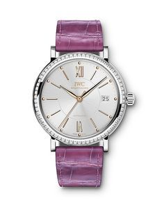 The @iwcwatches Portofino Automatic 37 (Ref. IW458103) features a stainless steel case - with 66 diamonds set into the bezel - containing the automatic Caliber 35111, with hour, minute and seconds functions as well as a rapid-advance date display. Shown in raspberry pink. Read more at: http://www.watchtime.com/wristwatch-industry-news/watches/more-from-watches-wonders-new-iwc-portofino-models-debut/ #iwcwatches #watchtime #watchnerd #wristcandy