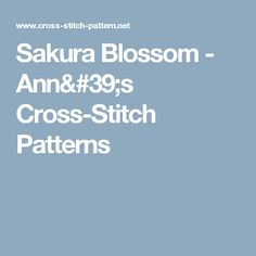 Sakura Blossom - Ann's Cross-Stitch Patterns