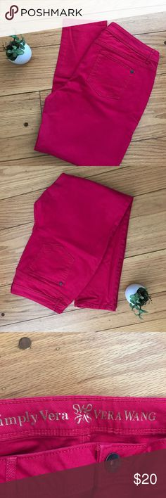 VERA WANG Simply Vera Skinny Ankle Jeans Worn 2x. Beautiful raspberry pink jeans. Simply Vera Vera Wang Jeans Ankle & Cropped