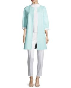 ESCADA REVERSIBLE LEATHER LONG JACKET, OFF WHITE/MINT. #escada #cloth #