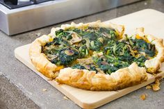 Sfoglia con zucca, spinaci e funghi; phyllo with pumpkin, spinach and mushrooms