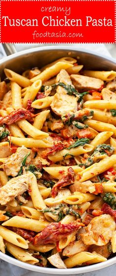 Creamy Tuscan Chicken Pasta is loaded with the flavors of the Mediterranean sundried tomato baby spinach garlic red pepper and parmesan. Its super quick and easy. A restaurant quality dish on the table in under 30 minutes. Sundried Tomato Chicken Pasta, Tuscan Chicken Pasta, Chicken Onion Tomato Recipe, Pasta With Sundried Tomatoes, Chicken Pasta Easy, Sundried Tomato Recipes, Chicken Sauce, Pasta Dinner Recipes, Chicken Pasta Recipes