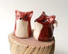 MADE TO ORDER Miniature Clay Fox, Ceramic Stoneware Red Fox Figurines
