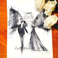 """This is my new original, modern watercolor painting titled """" Paris For Two II  from Romantic Bliss Collection."""
