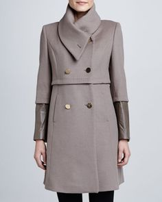 Maddison Leather-Cuff Coat  by Elie Tahari at Neiman Marcus.