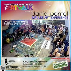 Credit to @danielpontet : This Saturday, April 15th. Showtime 8pm. Downtown Hollywood Artwalk featuring Pontet's Impulse Art Experience inspired by Resurrection Drums rhythms. Event organized by Hollywood CRA. #DanielPontet #music #ImpulseArt #ActionPainting #FeetPainting #drumming #HollywoodCRA #africanmusic #Canvas #drums #ResurretionDrums #ContemporaryArt #artwalks #culture #finearts #americanart #djembe #djembedrum #percussion #hollywoodfl #tumbadoras #tambores #paint #painter…