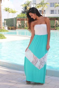 Jade and White Chevron Maxi Dress with Lace