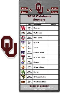 Get your 2016 Oklahoma Sooners Football Schedule App for Mac OS X - Sooner Boomer! - National Champions 2000, 1985, 1975, 1974, 1956, 1955, 1950 http://2thumbzmac.com/teamPages/Oklahoma_Sooners.htm