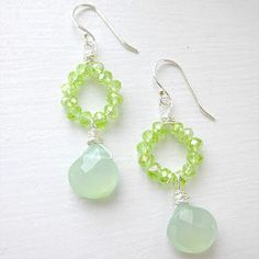 Faceted Seafoam Chalcedony Briolette and Peridot by nonadesigns, $22.00