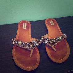 Not rated flip flops with gem/bead embellishment Not rated flip flops with gem/bead embellishment Not Rated Shoes Sandals