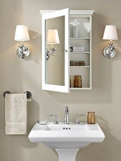 42 Super Creative DIY Bathroom Storage Projects to Organize Your Bathroom on a Budget - The Trending House Bathroom Mirror Cabinet, Medicine Cabinet Mirror, Mirror Cabinets, Medicine Cabinets, Glass Bathroom, Bathroom Sinks, Bathroom Mirror With Storage, Small Bathroom Cabinets, Bathroom Bench