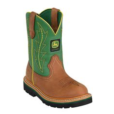 John Deere Youth Boys Green Leather Classic Pull-On Cowboy Boots