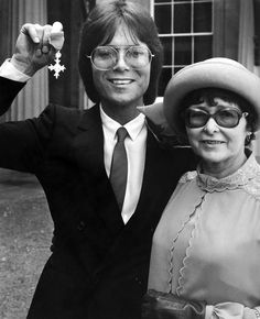 23rd July 1980: Cliff Richard poses with his mother Dorothy after receiving his OBE at Buckingham Palace