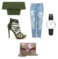 """"""""""" by kenzie4ever11 on Polyvore featuring Daniel Wellington, Topshop, WearAll and Gucci"""