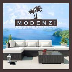 MODENZI Offwhite 6L Modern Outdoor Wicker Sofa Patio Furniture Set Couch Chairs #MODENZI