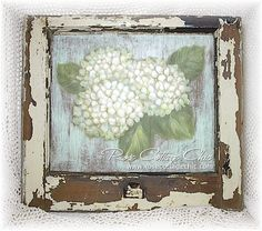 Image detail for -Painted Vintage Window -- White Hydrangeas, Shabby Cottage, French ...