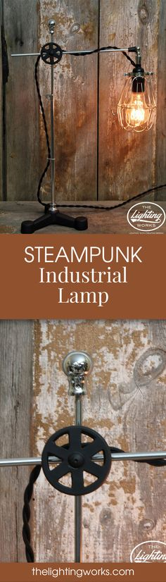 Steampunk Industrial Machine Age Lamp  Enjoy warm, targeted lighting anywhere you need it with this movable and extendable steampunk style table lamp!