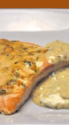 Roast Salmon with Creamy White Wine Mustard Sauce - dinner in minutes
