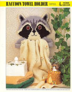 Raccoon Towel Holder Annie'S Plastic Canvas Pattern | eBay