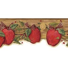 Charmant Apple Border For Kitchen | Red Apple Garland Wood Wallpaper Border Kitchen  U0026 Dining
