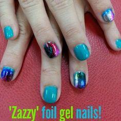 """Zazzy"" foil gel nails!!  Done by Ashley Buckmaster"