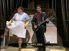 Chris Farley and Adam Sandler Lunch Lady. Sloppy joes, sloppy,sloppy joes. One of my fav SNL skits ever.