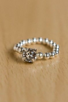 Easy Elastic Sparkly Ring Tutorial DIY - I like this finish better than just tying a knot.