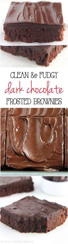 Clean & Fudgy Dark C  Clean & Fudgy Dark Chocolate Frosted Brownies  https://www.pinterest.com/pin/641200065668946781/