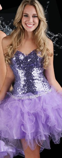 NWT Flirty Sexy Strapless Sequined Short Evening Gown/Prom Dress, Purple Sparkle