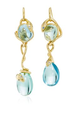 Aquamarine Drop Snake Earrings by SIDNEY GARBER for Preorder on Moda Operandi
