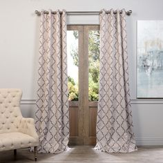 Exclusive Fabrics Seville Damask Tan Blackout Grommet Curtain Panel... ($63) ❤ liked on Polyvore featuring home, home decor, window treatments, curtains, tan, patterned curtains, window curtains, blackout window panels, window screens and patterned blackout curtains