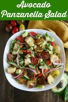 Avocado Panzanella Salad is a fun twist on the traditional bread salad. Crusty bread, fresh vegetables, creamy avocado, and a flavorful dressing combine for this delicious dish that's perfect as a side, salad, or light meal #avocadopanzanellasalad #panzanellasalad #breadsalad #panzanella #summerbreadsalad #karylskulinarykrusade Easy Summer Salads, Summer Salad Recipes, Salad Dressing Recipes, Easy Salads, Healthy Salad Recipes, Real Food Recipes, Easy Meals, Cooking Recipes, Avocado Recipes