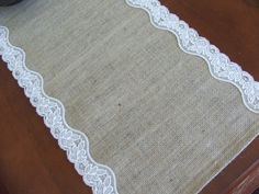 Burlap table runner with light beige lace wedding table runner rustic romantic fall wedding