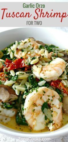 Garlic Orzo Tuscan Prawns with sauteed mushrooms, onion, sun dried tomatoes and spinach.
