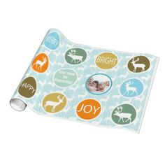 Family Photo Reindeer Christmas Merry Bright Wrapping Paper