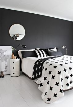 Pia Wallen cross blanket white black