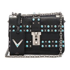 Valentino Rockstud Shoulder Bag ($2,667) ❤ liked on Polyvore featuring bags, handbags, shoulder bags, kirna zabete, sale, genuine leather handbags, leather flap handbags, shoulder strap bags, shoulder strap purses and metallic purse