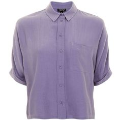 Topshop Short Sleeve Roll Up Shirt ($37) ❤ liked on Polyvore featuring tops, charcoal, purple button up shirt, button down collar shirts, purple shirt, layering shirts and button down shirts