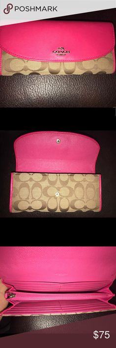 Coach Wallet Pink REAL Coach Wallet.  Barely used. Great Condition Coach Bags Wallets