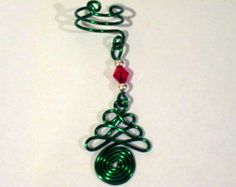 """Non Pierced """"Celtic Yule Tree"""" or Christmas Tree Ear Cuff 1 Cuff Color Choices"""