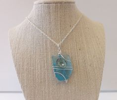 Sea Glass Necklace with Limpet Shell and by TheGreenEyedTurtle, $20.00