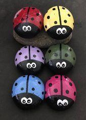 groß SET 6 Colorful Wide-Eyed Ladybug Garden Stones– Painted Rocks–Just 3 Dollars each! Lady Bug Painted Rocks, Painted Rocks Craft, Hand Painted Rocks, Pebble Painting, Pebble Art, Stone Painting, Rock Painting Ideas Easy, Rock Painting Designs, Ladybug Rocks
