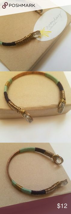 """NWT Noonday Navy Festival Bracelet .4""""W, .75"""" Opening Mixed Metal, Glass Beads, Thread Noonday Jewelry Bracelets"""
