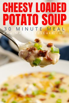 This cheesy potato soup is an Outback Steakhouse copycat and ultimate comfort food. Made from scratch and a better for you replica of the original. Best Soup Recipes, Vegetable Soup Recipes, Chowder Recipes, Easy Delicious Recipes, Chili Recipes, Vegan Recipes Easy, Dinner Recipes, Copycat Recipes, Dinner Ideas