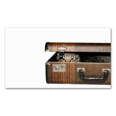 Traveling cat business card. Make your own business card with this great design. All you need is to add your info to this template. Click the image to try it out!