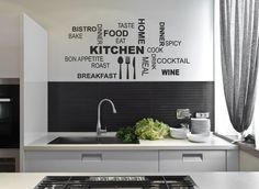 Kitchen Wall Quote Stickers Cafe Vinyl Art Decals decor transfer DIY