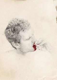 "The mind's apocalypse, pencil drawings by Dilly... again, with the ""touch"" of red ~"