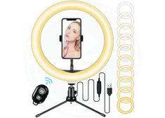 BYTTRON Luce ad Anello Dimmerabile 3000K-6500K LED Ring Light 10 pollici con Supporto per Treppiede, Tubo Flessibile | piuofferte.it Foto E Video, Led