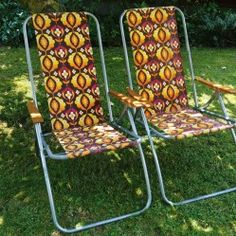 Pair of vintage reclining garden chairs - Vintage Actually Outdoor Chairs, Outdoor Furniture, Outdoor Decor, Folding Garden Chairs, Good Old Times, Recliner, 1970s, Landscaping, Nostalgia