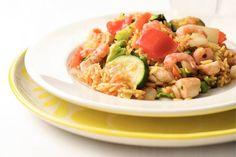 Kijk wat een lekker recept ik heb gevonden op Allerhande! Snelle paella met kip en garnalen